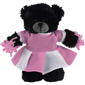 Soft Plush Stuffed Black Teddy Bear with Cheerleader Outfit