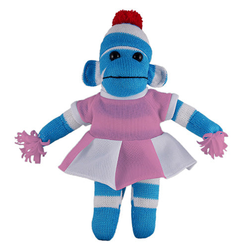 Blue Sock Monkey (Plush) with Cheerleader Outfit