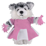 Soft Plush Stuffed Husky with Cheerleader Outfit
