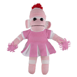 Pink Sock Monkey (Plush) with Cheerleader Outfit