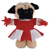Soft Plush Stuffed Pug with Cheerleader Outfit