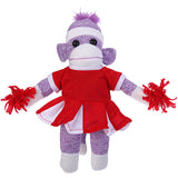 Purple Sock Monkey Plush in Cheerleader Outfit