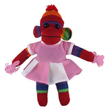 Rainbow Sock Monkey (Plush) with Cheerleader Outfit