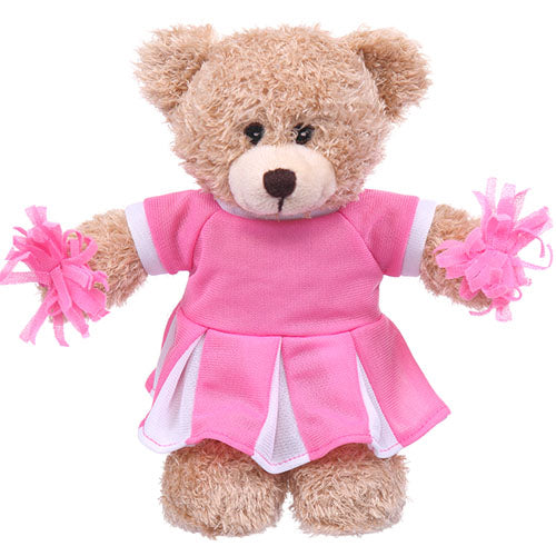 Soft Plush Tan Teddy Bear in Cheerleader Outfit