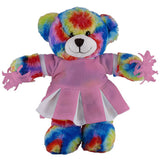 Soft Plush Stuffed Tie Dye Teddy Bear with Cheerleader Outfit