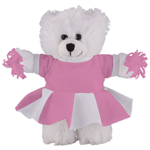Soft Plush Stuffed White Teddy Bear with Cheerleader Outfit