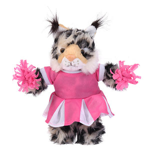 Soft Plush Stuffed Wild Cat (Lynx) with Cheerleader Outfit