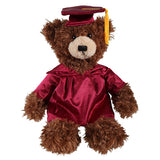 Soft Plush Chocolate Brandon Teddy Bear in Graduation Cap & Gown Stuffed Animal