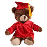 Soft Plush Chocolate Sitting Teddy Bear in Graduation Cap & Gown Stuffed Animal