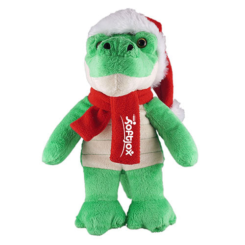 Soft Plush Stuffed Alligator with Christmas Hat & Scarf