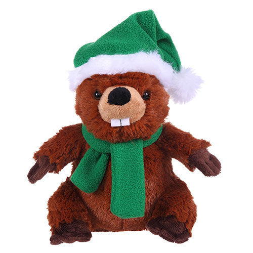 Soft Plush Beaver with Christmas Hat and Scarf