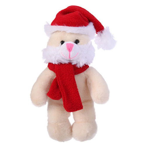 Soft Plush Bunny with Christmas Hat and Scarf