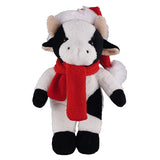 Soft Plush Stuffed Cow with Christmas Hat and Scarf