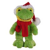 Soft Plush Stuffed Frog with Christmas Hat and Scarf