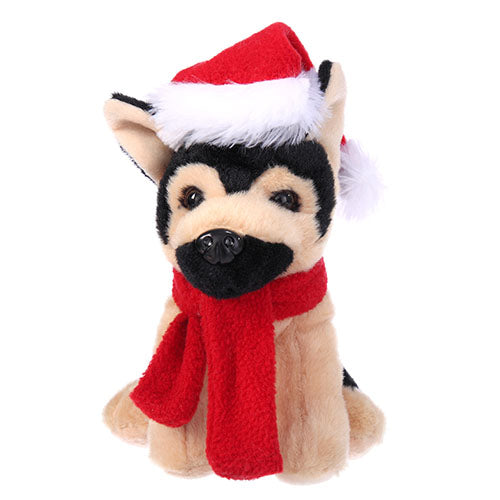 Soft Plush German Shepherd with Christmas Hat and Scarf