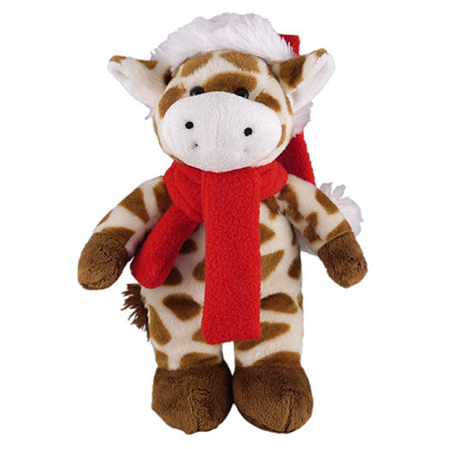 Soft Plush Stuffed Giraffe with Christmas Hat and Scarf