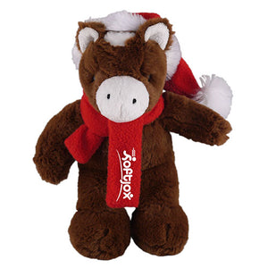 Soft Plush Stuffed Horse with Christmas Hat and Scarf