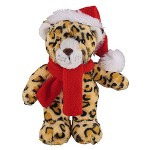 Soft Plush Stuffed Leopard with Christmas Hat and Scarf