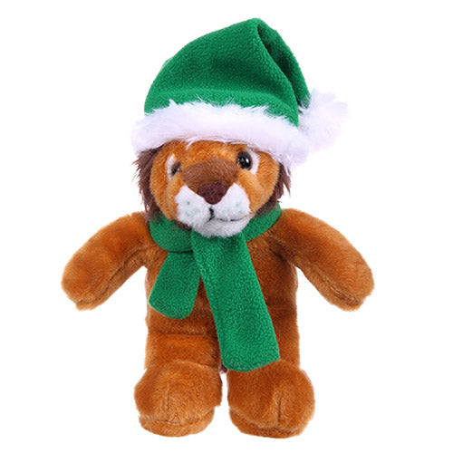 Soft Plush Stuffed Lion with Christmas Hat and Scarf