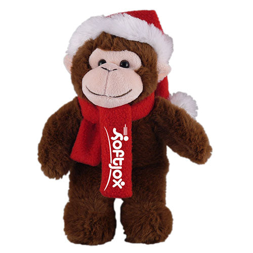 Soft Plush Stuffed Monkey with Christmas Hat and Scarf
