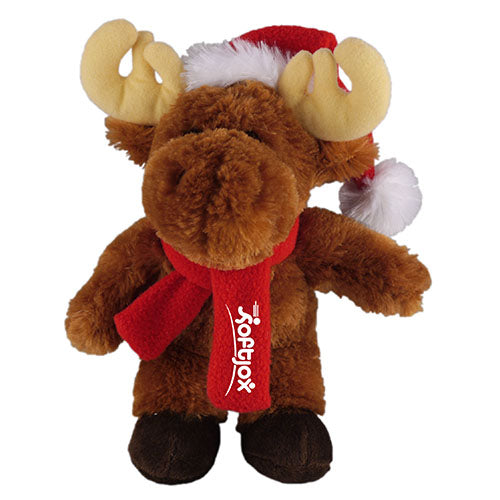 Soft Plush Stuffed Moose with Christmas Hat and Scarf