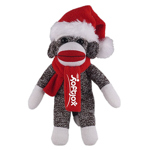 Orginal Sock Monkey (Plush) with Christmas Hat and Scarf