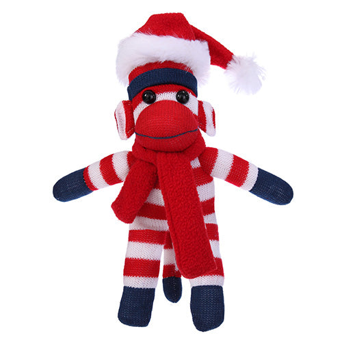 Patriotic Sock Monkey Plush with Christmas Hat and Scarf