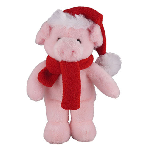 Soft Plush Stuffed Pig with Christmas Hat and Scarf