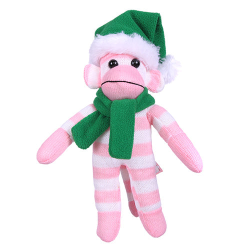 Pink Sock Monkey (Plush) with Christmas Hat and Scarf