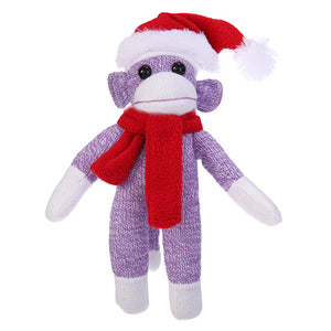 Purple Sock Monkey Plush with Christmas Hat and Scarf