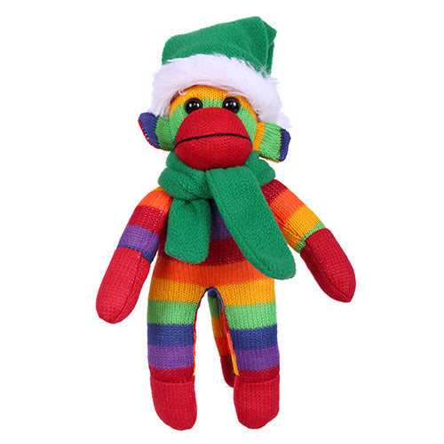 Rainbow Sock Monkey (Plush) with Christmas Hat and Scarf