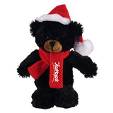 Soft Plush Stuffed Black Teddy Bear with Christmas Hat and Scarf