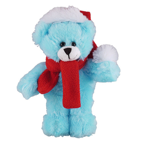 Soft Plush Stuffed Blue Teddy Bear with Christmas Hat and Scarf