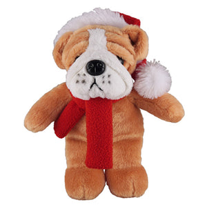 Soft Plush Stuffed Bulldog with Christmas Hat and Scarf