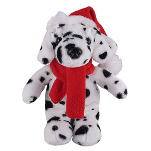 Soft Plush Stuffed Dalmatian with Christmas Hat and Scarf