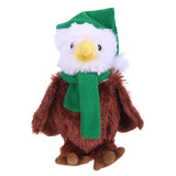 Soft Plush Stuffed Eagle with Christmas Hat and Scarf