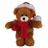 Soft Plush Stuffed Mocha Teddy Bear with Christmas Hat & Scarf