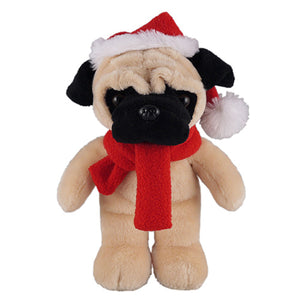 Soft Plush Stuffed Pug with Christmas Hat and Scarf