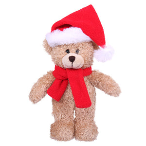Soft Plush Stuffed Tan Teddy Bear with Christmas Hat and Scarf