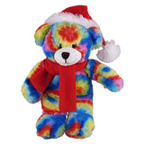Soft Plush Stuffed Tie Dye Teddy Bear with Christmas Hat and Scarf