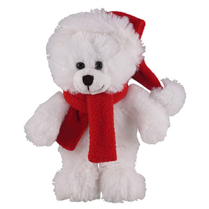Soft Plush Stuffed White Teddy Bear with Christmas Hat and Scarf