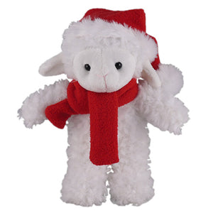 Soft Plush Stuffed Sheep with Christmas Hat and Scarf