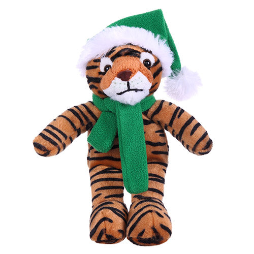 Soft Plush Stuffed Tiger with Christmas Hat and Scarf