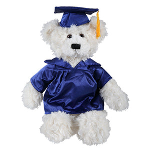 Soft Plush Cream Brandon Teddy Bear in Graduation Cap & Gown Stuffed Animal