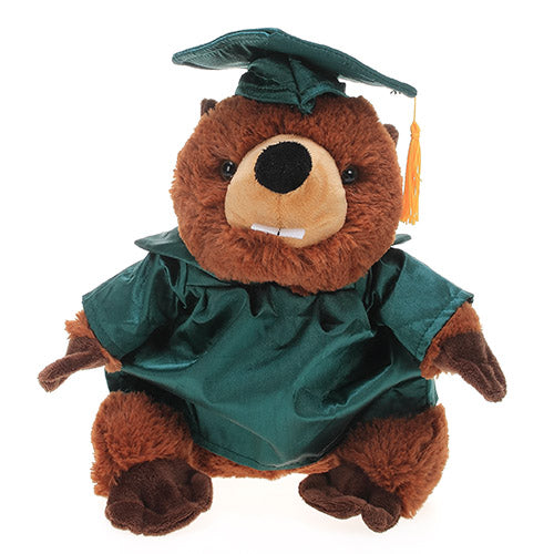 Soft Plush Beaver with Graduation Cap and Gown