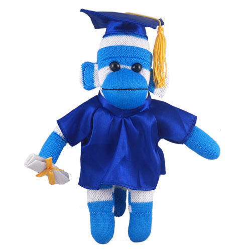 Blue Sock Monkey (Plush) in Graduation Cap & Gown