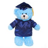Soft Plush Blue Teddy Bear in Graduation Cap & Gown Stuffed Animal
