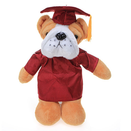 Soft Plush Bulldog in Graduation Cap & Gown Stuffed Animal