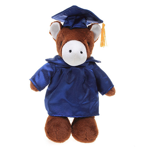 Soft Plush Horse in Graduation Cap & Gown Stuffed Animal