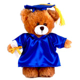 Soft Plush Mocha Teddy Bear in Graduation Cap & Gown